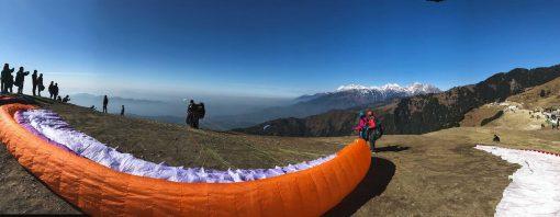 Paraglider ready for take-off from Billing
