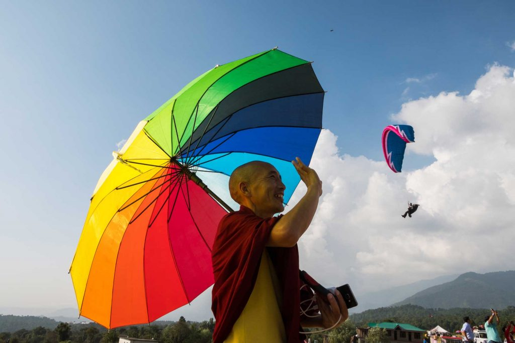 The monk and a paraglider